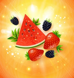 Abstract summer poster with watermelon strawberry vector image vector image