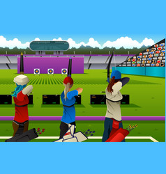 Archers in the archery competition vector