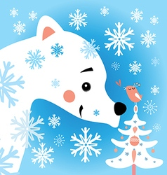 Bear in the snow forest vector
