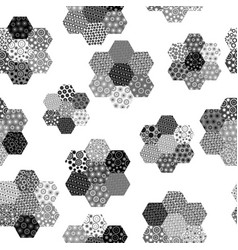 black and white background with hexagonal vector image