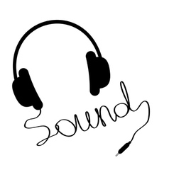Black headphones with cord in shape word sound vector
