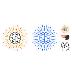 Brain radiance composition icon circles vector