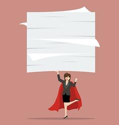 Business woman superhero lifting a lot of vector