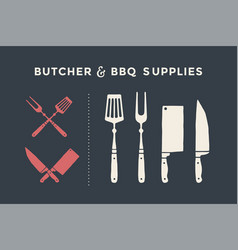 butcher and bbq supplies vector image