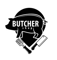 Butcher shop black emblem with pig and cutlery vector