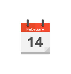 calendar february 14 valentines day in a flat vector image