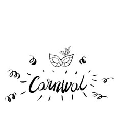 Carnival hand drawn lettering and mask for brasil vector