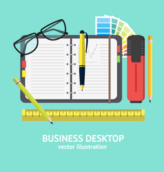 Cartoon business workplace card vector
