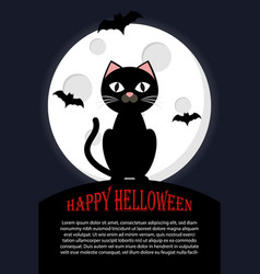 cat sits against full moon happy hallowen vector image