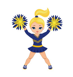 Cheerleader in blue and yellow uniform with pom po vector
