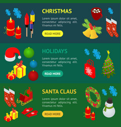 christmas celebration banner horizontal set 3d vector image