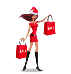 christmas or new year sale concept with woman vector image