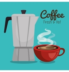 coffee maker vintage and cup red hot graphic vector image