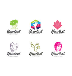 collection beauty care logo vector image