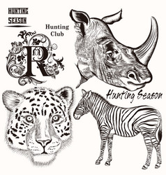 collection of hand drawn animals vector image