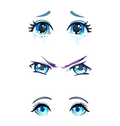 Colorful beautiful eyes in anime manga style vector
