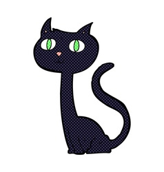 comic cartoon black cat vector image