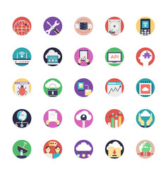 database and cloud technology flat icons vector image