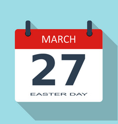 easter day march 27 flat daily calendar i vector image