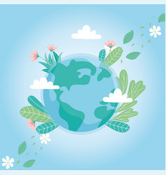 ecology world with flowers leaves clouds save vector image