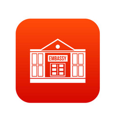 Embassy icon digital red vector