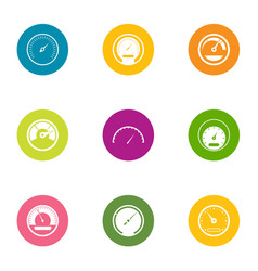 fast speed icons set flat style vector image