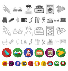 films and cinema flat icons in set collection for vector image