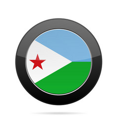 Flag of djibouti shiny black round button vector