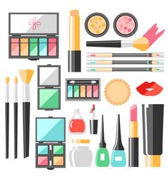 flat cosmetics set beauty fashion products vector image