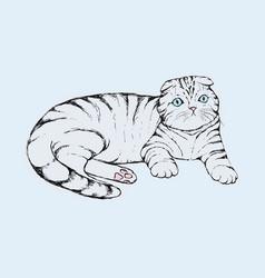 Fold cat - hand drawn flap vector