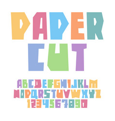 font paper cut upper case pastel colors vector image