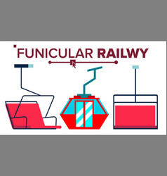 Funicular mountain railway ski cable car vector