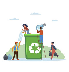 garbage sorting small people throw litter in vector image