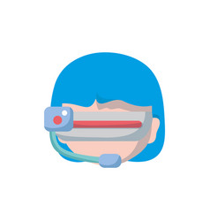Girl head with 3d glasses to virtual video game vector