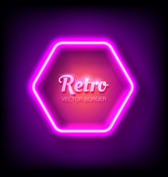 glowing neon frame on colorful dark background vector image