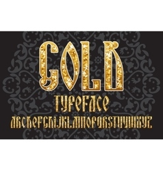 Gold typeface set vector image