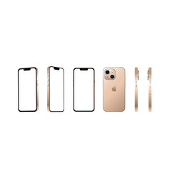 Golden modern smartphone mobile iphone 13 mini vector