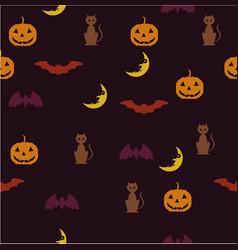 halloween background bat pumpkin moon vector image