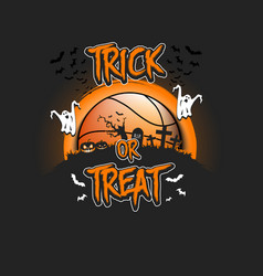Halloween pattern trick or treat and basketball vector
