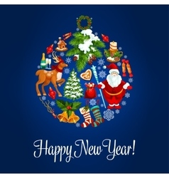 Happy New Year greeting card Ornament ball vector image