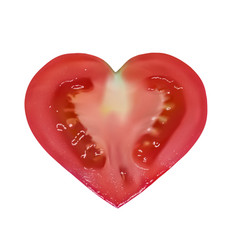 heart-shaped tomato on white background vector image