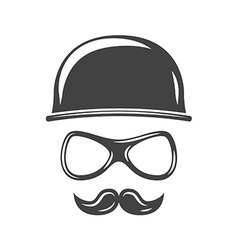 Hipster round retro hat eyeglasses and moustache vector image