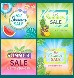 Hot summer sale posters set vector