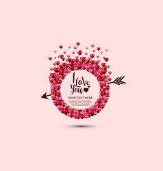 I love you with love circle and arrow on pink vector