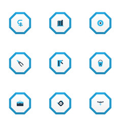 Industrial icons colored set with chuck milling vector