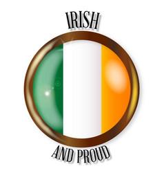 Irish proud flag button vector