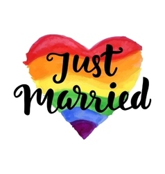 Just Married phrase on bright watercolor heart vector