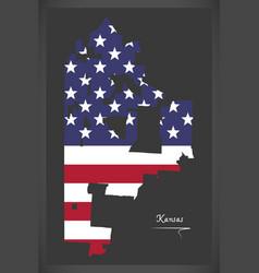 Kansas missouri map with american national flag vector