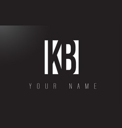 kb letter logo with black and white negative vector image