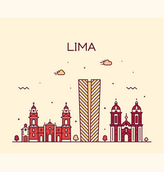 lima skyline peru trendy linear style vector image